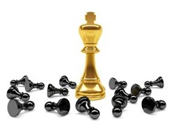 SEO Golden King with black pawns down