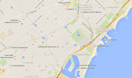 Map of Barcelona on Google Maps