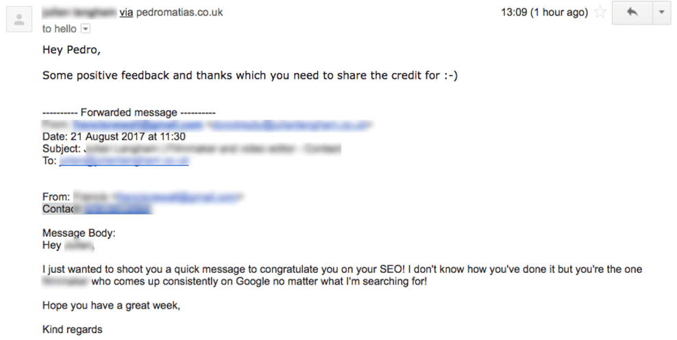 Email forwarded from a training client receiving praise for his SEO work and in turn thanking me for my training with him